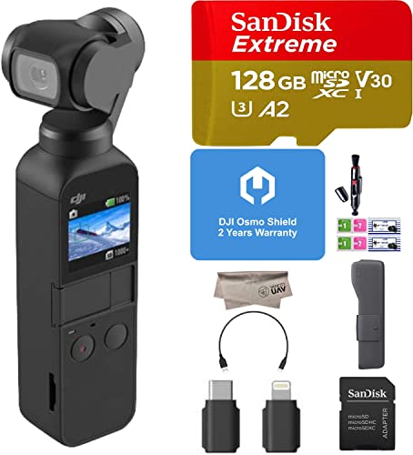 DJI Osmo Pocket 3 Axis Gimbal Stabilizer with Integrated 4K Camera, Comes DJI Osmo Shield 2 Years Wty , 128GB Extreme Micro SD, Attachable to Android USB Type C , iPhone