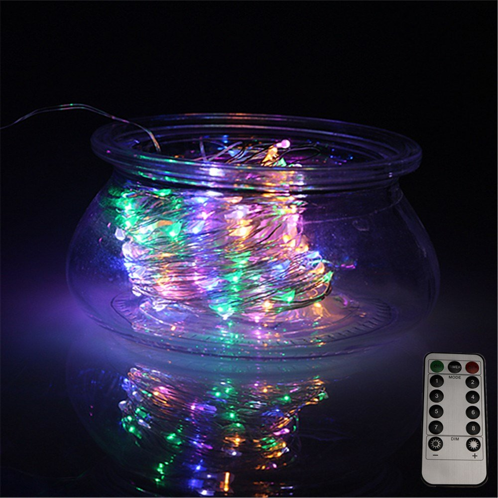 LEDLuces 10M/33ft 100 LEDs String Lights, USB Powered Low Voltage Waterproof 8 Modes With Remote Control For Decoration - Silver Wire(RGB) by LEDLuces (Image #2)