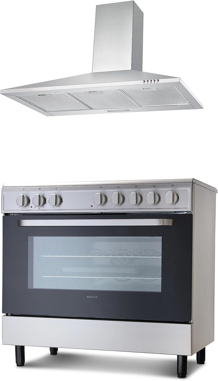 Paquete de extractores y extractores de cocina Servis SC900X 90 cm cocina eléctrica de acero inoxidable y campana extractora: Amazon.es: Grandes electrodomésticos