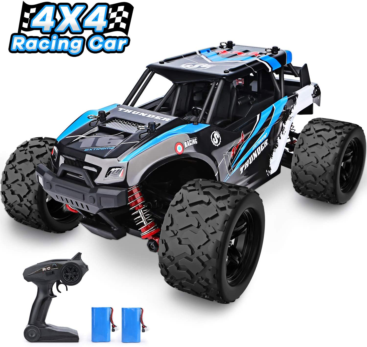 YEZI 1 18 Scale Large RC Cars 36km h Speed 2.4Ghz All Terrain Waterproof Remote Control Truck,4×4 Electric Rapidly Off Road car for, Remote Control car for Kids Boys and Adults