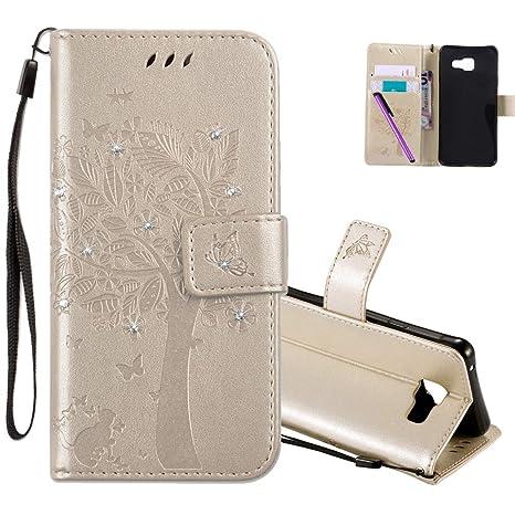 COTDINFOR Samsung A3 2016 Hülle für Mädchen Elegant Retro Premium PU Lederhülle Handy Tasche mit Magnet Standfunktion Schutz