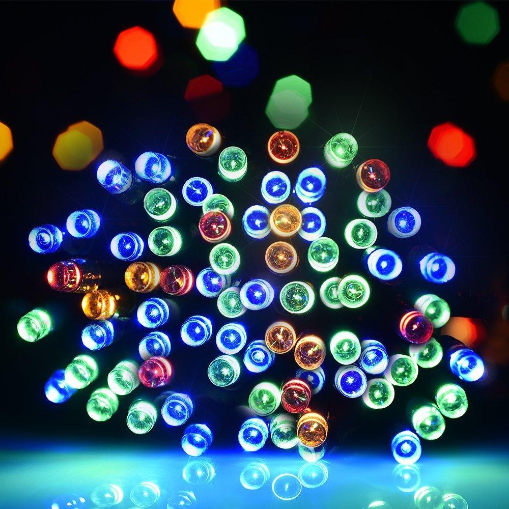 Litom guirlande solaire multicolore guirlande lumineuse extérieur