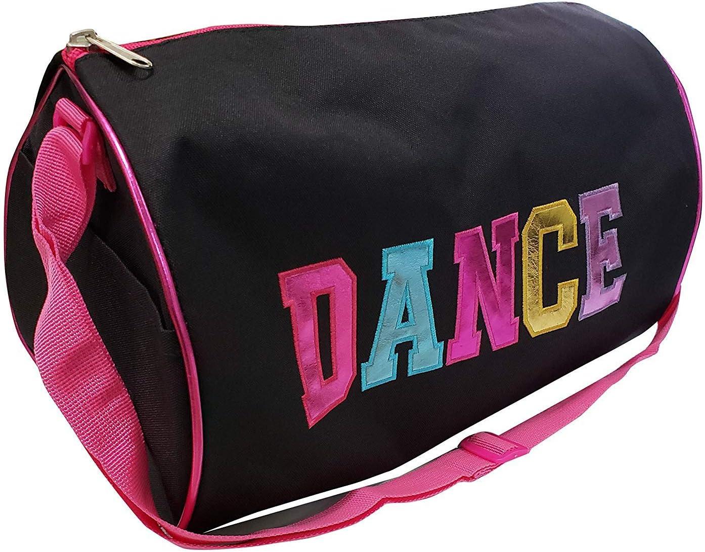 BLACK Dance Duffel Bag with Multicolored Dance Print