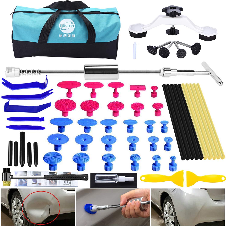 GLISTON Dent Remover Tools - Paintless Dent Repair Kit with Stainless Slide Hammer Dent Puller, Pry Tool, Bridge Puller Dent Removal Kit for Car Hail & Door Ding Damage