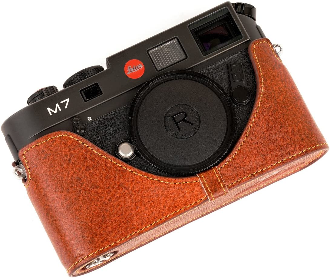 Lava Brown BolinUS Handmade Genuine Real Leather Half Camera Case Bag Cover for Leica M10 Camera with Hand Strap Leica M10 Case