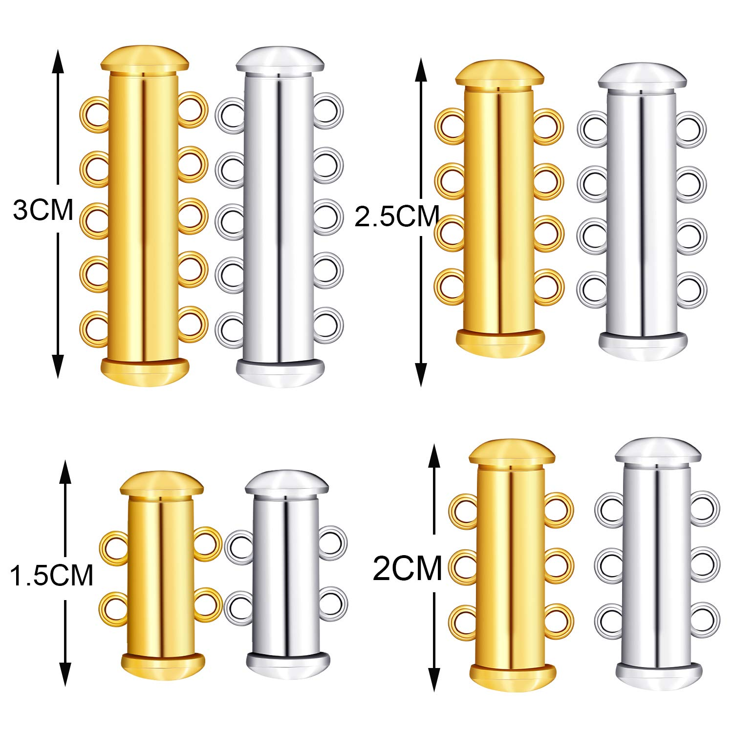 8 Pieces 4 Sizes Slide Clasp Lock Necklace Connector Multi Strands Slide Tube Clasps with Storage Box for Layered Bracelet Necklace Jewelry Crafts