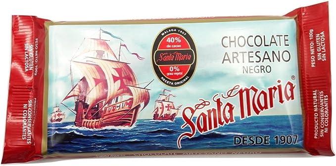 Santa María - Chocolate Artesano negro 100 gramos - Pack de 5 ...