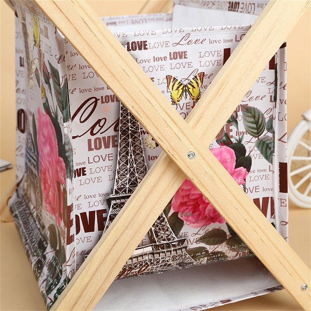 Foldable Storage Baskets - Waterproof Canvas & Pine Wood Storage Bins Square Storage Basket Wooden Shelves Storage for Toys, Desks, Makeup (British flag) by TOPCHANCES (Image #5)