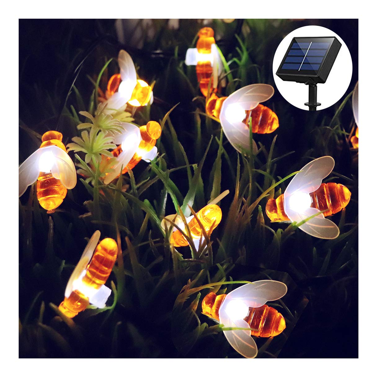 Solar String Light,30 LEDs Outdoor LED Solar Powered Fairy String Lights Waterproof Solar Decoration Honeybee Lights for Christmas, Garden, Patio,Yard,Walkway,Driveway(Warm White) SUOLANUO