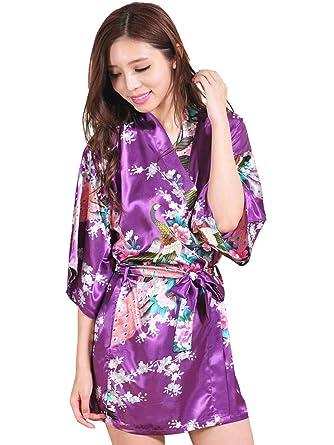 Avidlove Lencería Kimono Japones Corto de Satén Estampado Floral para Mujer: Amazon.es: Ropa y accesorios