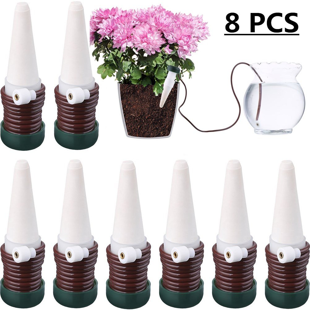 JETTINGBUY 8 Pcs Indoor Automatic Watering System Drip Irrigation Device, Gardening Tools for Flower Pots Self Plant Waterer Ceramic Probes,Slow Release Houseplant Spikes Self Watering