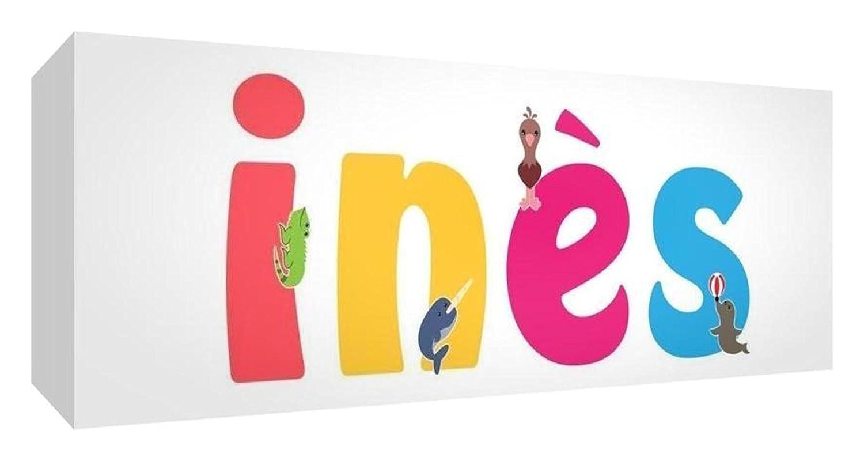 Little Helper Toile Boîte Galerie Enveloppé avec Panneau avant Style Illustratif Coloré avec le Nom de Jeune Fille Inès 15 x 42 x 3 cm Petite LHV-INÈS-1542-15FR