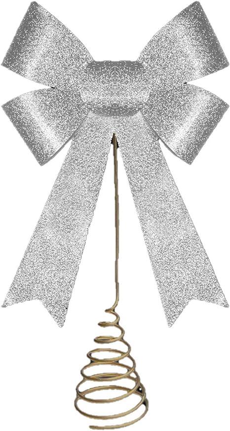 Santa Express Large Silver Velvet Bow Tree Topper 17