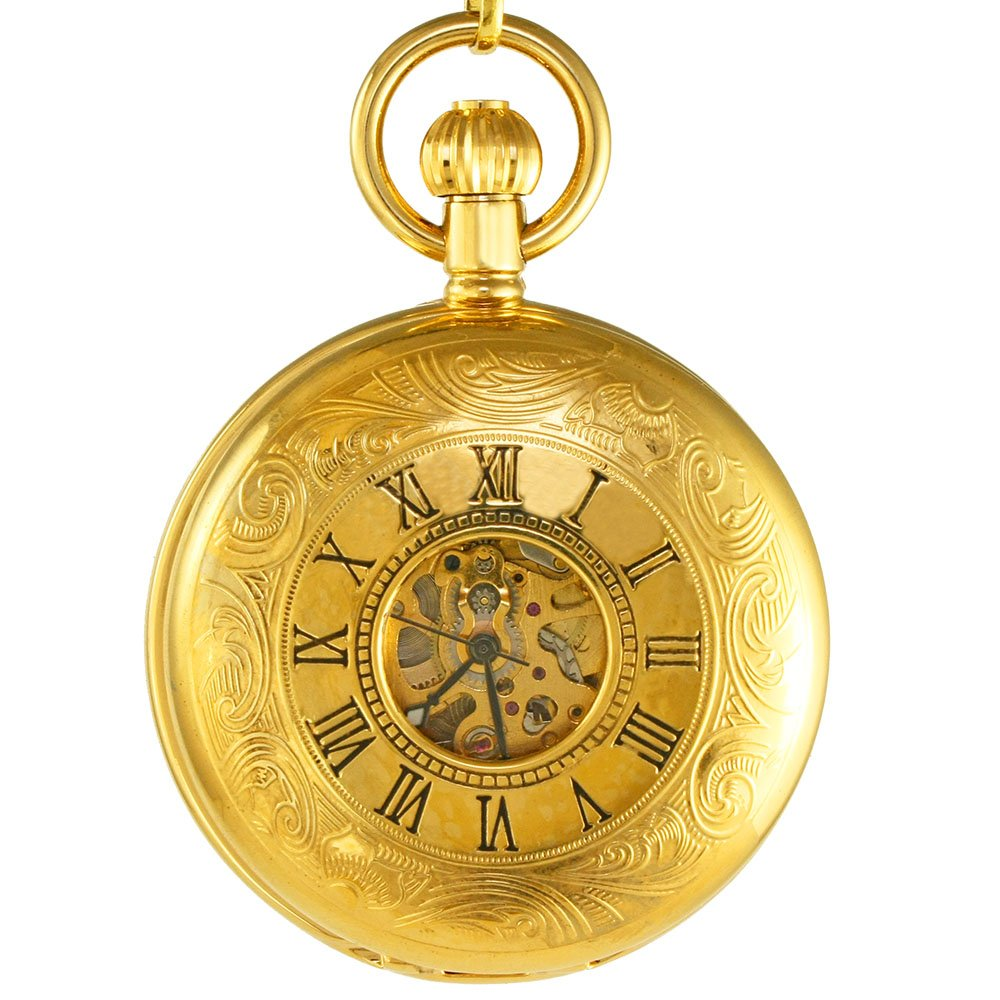 Ogle Vintage Roman Gold Copper Double Open Cover Chain Fob Self Winding Automatic Mechanical Pocket Watch(White Dial)