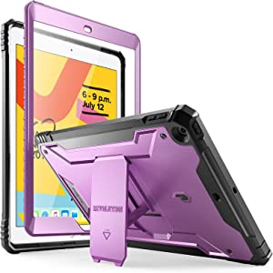 Poetic Revolution Series Case for iPad 10.2 7th Generation 2019 / 8th Generation 2020 Case, Full-Body Rugged Shockproof Protective Cover with Kickstand and Built-in-Screen Protector, Metallic Purple