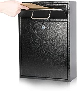 Kyodoled Steel Key Lock Mail Boxes Outdoor Locking Wall Mount Mailbox Security Key Drop Box Collection Boxes 16 2hx 11 22lx 4 72w Inches Black X Large Amazon Com