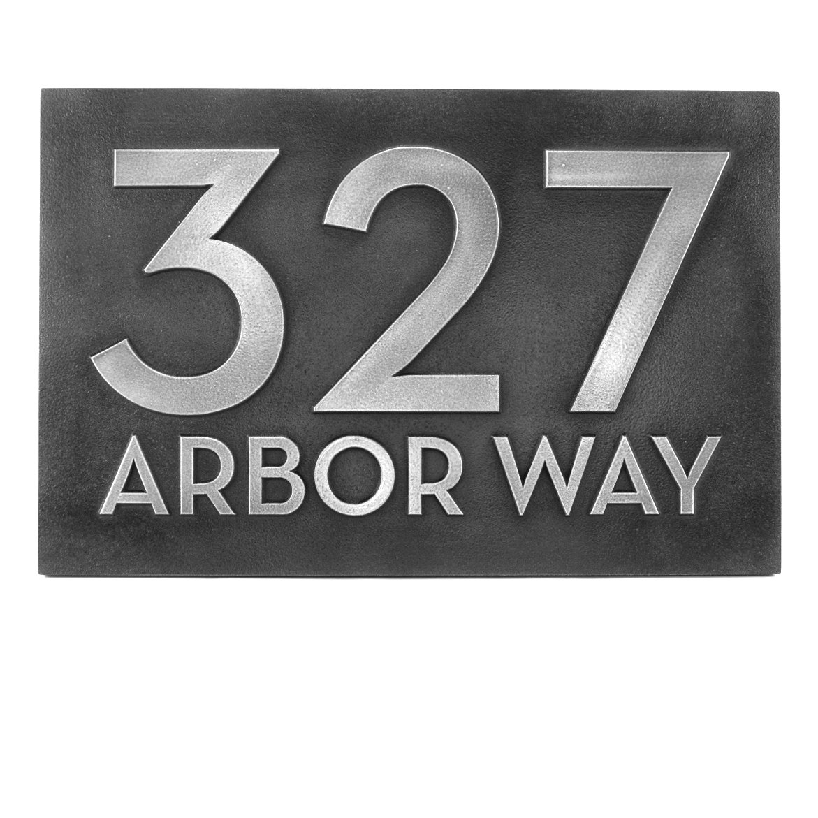 Big Bold Classy Modern Font Horizontal Number and Street Home Address Plaque 13x8.5 - Pewter Metal Coated with Raised lettering style