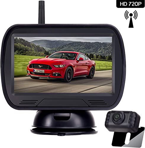 Amtifo HD 720P Digital Wireless Backup Camera System with 4.3 Monitor for Pickups,Trucks,Cars,Campers,Adjustable Rear Front View,Guide Lines On Off,IP69 Waterproof
