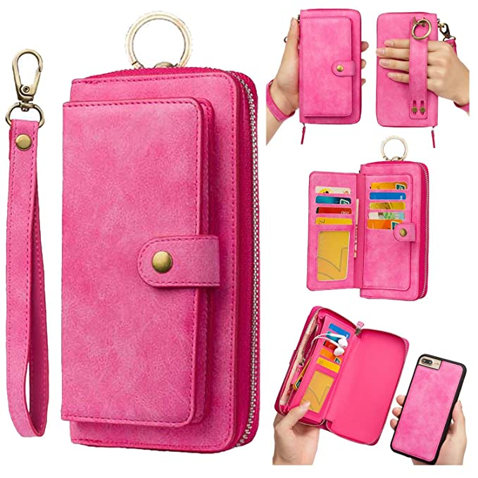 new products c7a3a 0322f iPhone 8 Plus Wallet Case Magnetic Detachable,iPhone 7 Plus Wallet Case  Magnetic Detachable,AIFENG Zipper Wallet Leather Flip Folio Case Cover with  ...