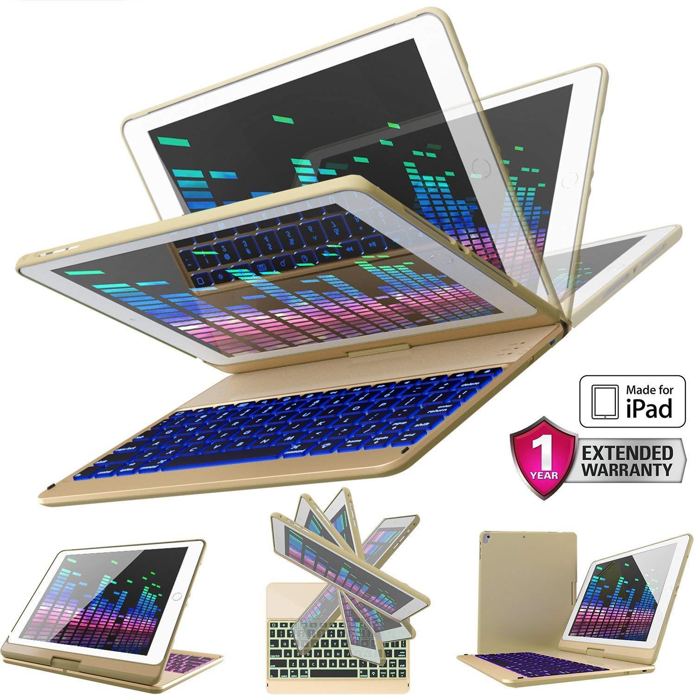 iPad Keyboard Case for iPad 2018 (6th Gen) - iPad 2017 (5th Gen) - iPad Pro 9.7 - iPad Air 2 & 1 - Thin & Light - 360 Rotatable - Wireless/BT - Backlit 7 Color - iPad Case with Keyboard (9.7, Black) YEKBEE 360 Keyboard