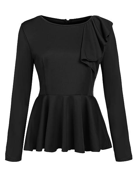 e8ba85771b9b2 Zeagoo Women's Ruffles Peplum Sleeveless/Long Sleeve Dressy Blouse ...