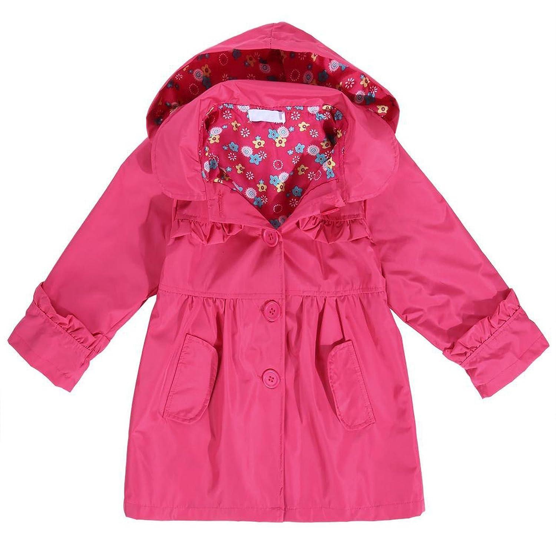FastDirect Girl's Waterproof Hooded Coat Long Sleeve Flower Printed Outwear Raincoat