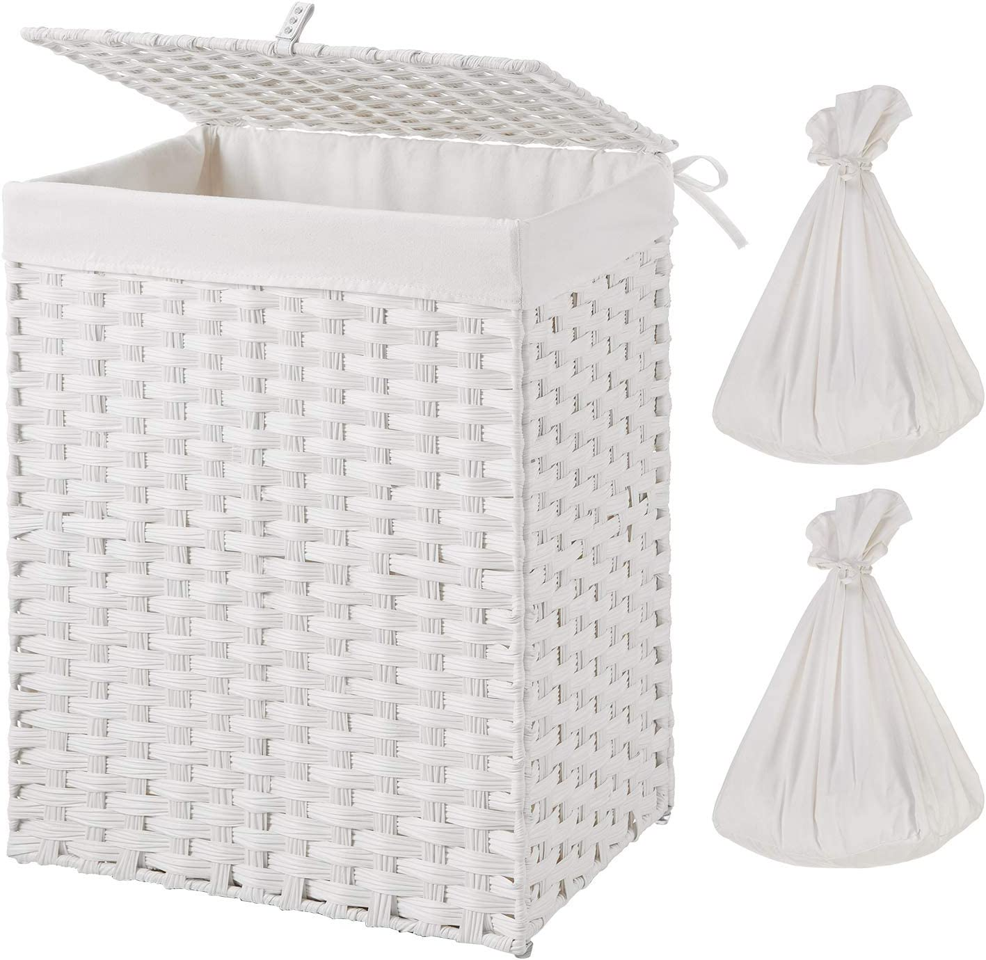 Greenstell Handwoven Laundry Hamper with 2 Removable Liner Bag, Synthetic Rattan Laundry Basket with Lid and Handles, Foldable and Easy to Install White (Standard Size)