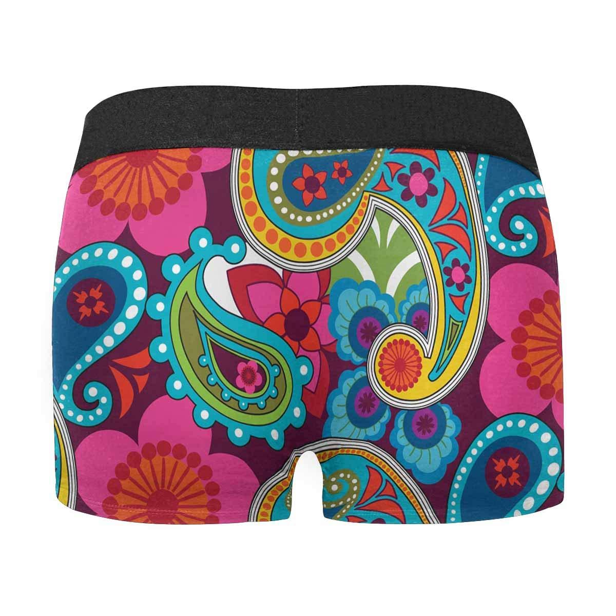 XS-3XL INTERESTPRINT Boxer Briefs Mens Underwear Paisley Indian Floral