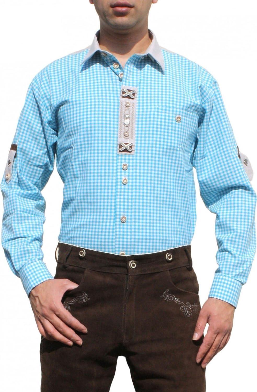 Trachtenhemd für Lederhosen mit Verzierung türkis/kariert