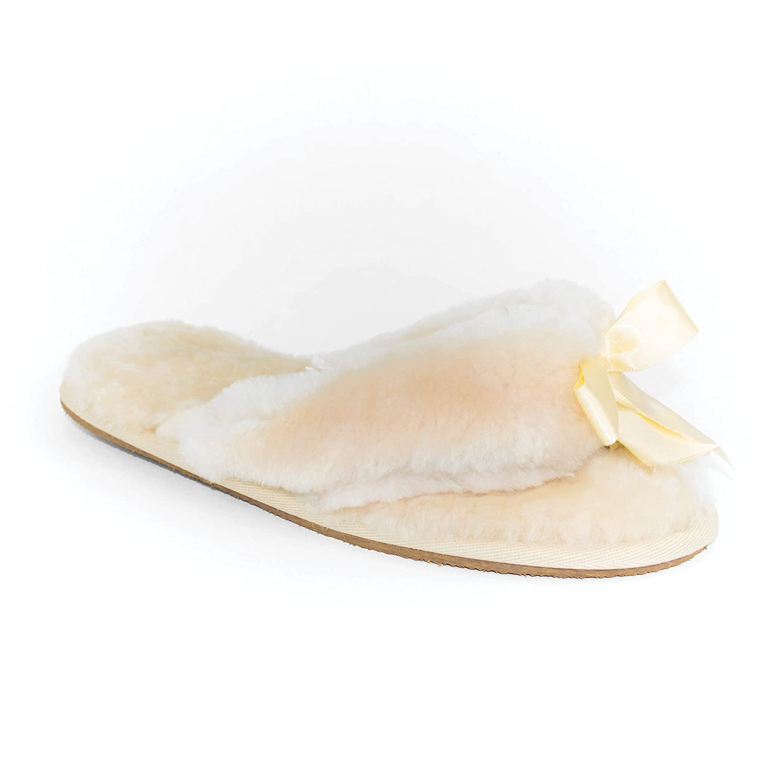 Ricardo B.H. Women's Plush Sheepskin Slipper with Rubber Bottom Ivory 6