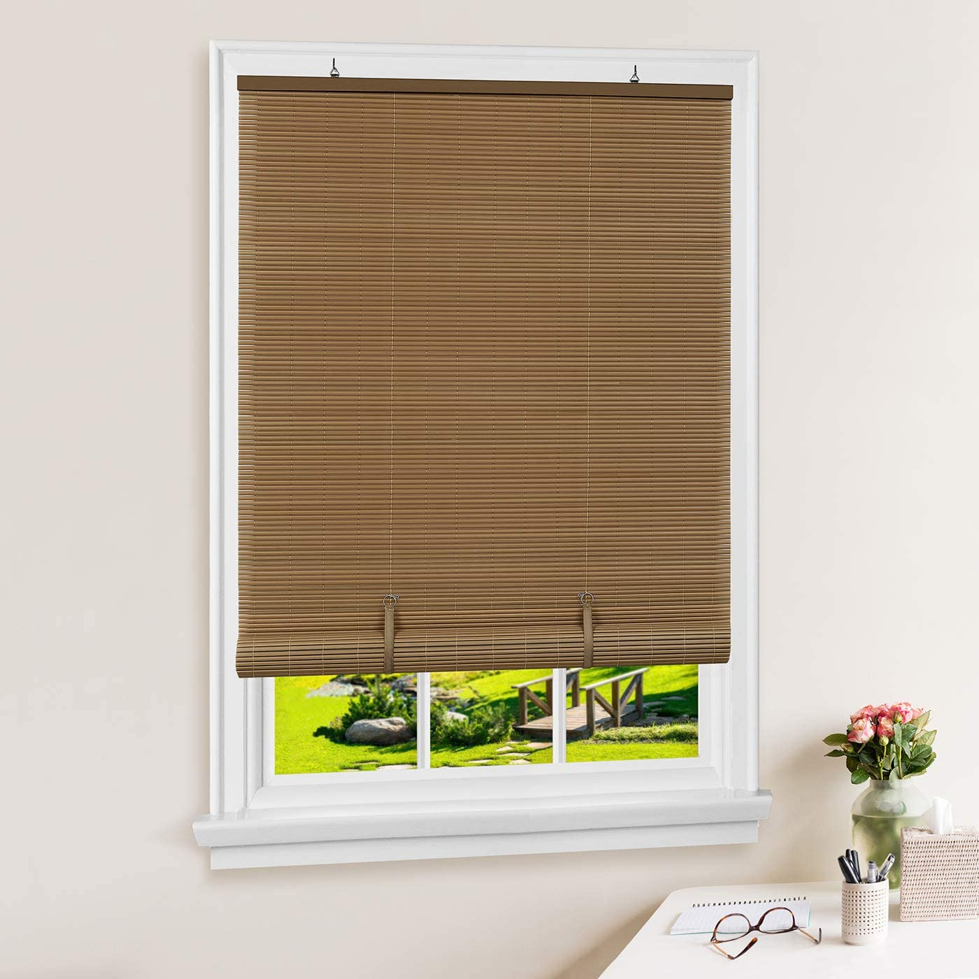PowerSellerUSA Oval Cordless Outdoor Rollup Light Filtering Window Blinds Roller Shades 48 Width x 72 Length , Woodtone