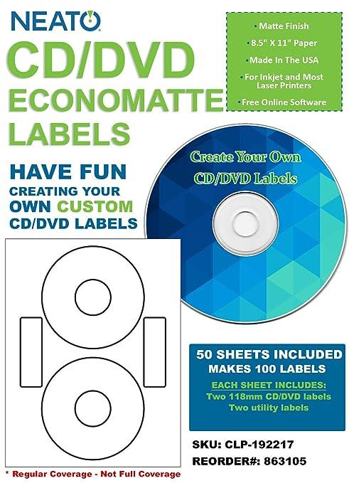 Amazon.com : Neato CD/DVD Economatte Labels - 50 Sheets - Makes 100 ...