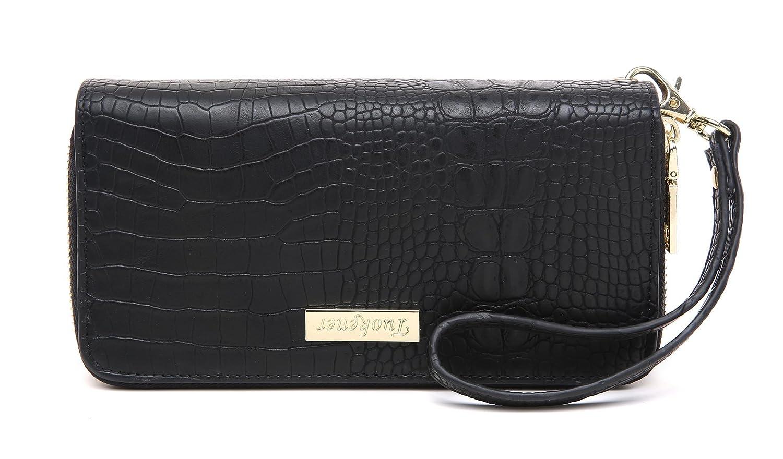 tuokener Portefeuille Femme XL Double Zip avec Poignet Grand Portefeuilles Femmes NFC RFID Porte Monnaie Wallet(Bleu Crocodile)