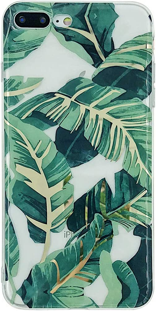 HolaStar Tropical Case for iPhone 7 Plus/8 Plus, Ultra Thin Glossy Green Palm Leaves with Gold Stem Soft Cover