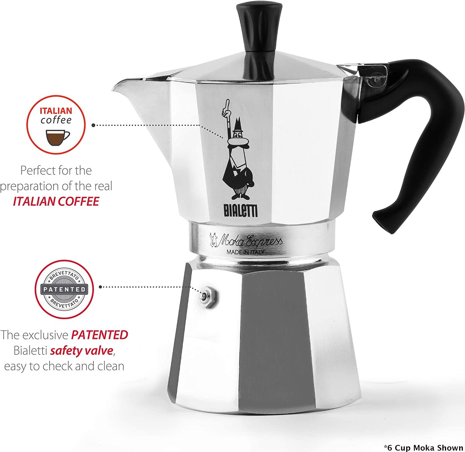 Bialetti 06800 Moka stove top coffee maker, 6 -Cup, Aluminum