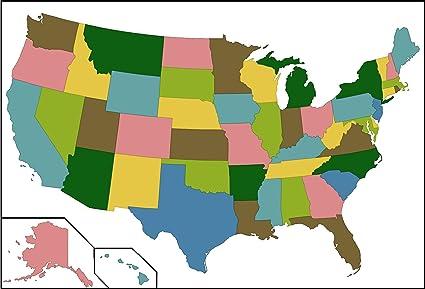 Amazon.com: Home Comforts Laminated Map - Usaalaska50 On Blank Map ...