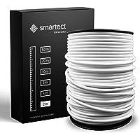 smartect Textilkabel för Lampor Vit - 2 Meter Tvinnad trasa täckt Tråd - 3 Prong (3 x 0.75mm²) Trasa Elektrisk Sladd för…