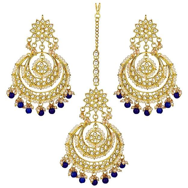 Details about  /Indian Jewelry Golden Chandbali Bengali Kaanbala Earrings Set BUY 1 GET 1 FREE
