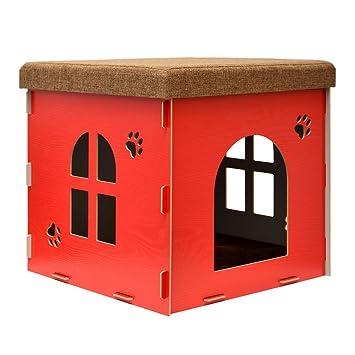 eyepower Caseta para Perro Gato 46x46x46cm cama talla grande L caja cuadrada para mascota con tapa acolchada para sentarse puf escabel Rojo: Amazon.es: ...