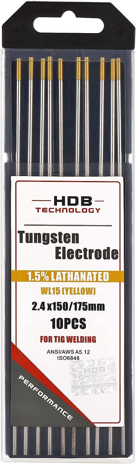 10 pieza TIG Tungsteno electrodos WL15 GOLDplus Oro /ø2,4 X 175 mm agujas sin torio