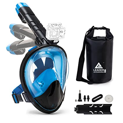 d712f658d Leader Accessories Upgraded Foldable Full Face Snorkel Mask 180° Panoramic  View Anti-Fog Anti-Leak Easy Breathing