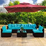 Amolife 7 Pieces Patio PE Rattan Sofa Chair Set Outdoor Sectional Furniture Black Wicker Conversation Set with Cushions and T