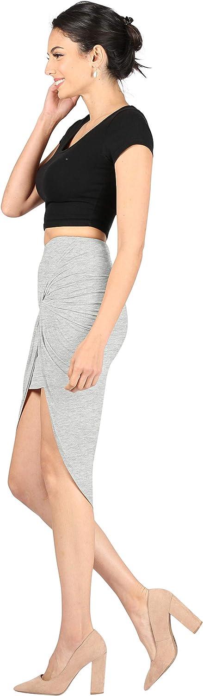 Size Medium, Heather Grey Womens Drape Up Stretchy Asymmetrical High Low Short Mini Bodycon Pencil Skirt