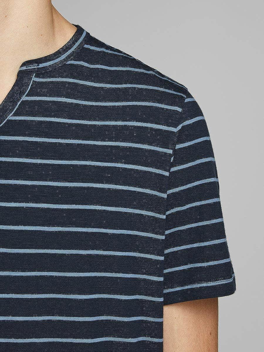 Jack /& Jones Jprtrevor BLU SS tee Split Neck-Pre Camiseta para Hombre