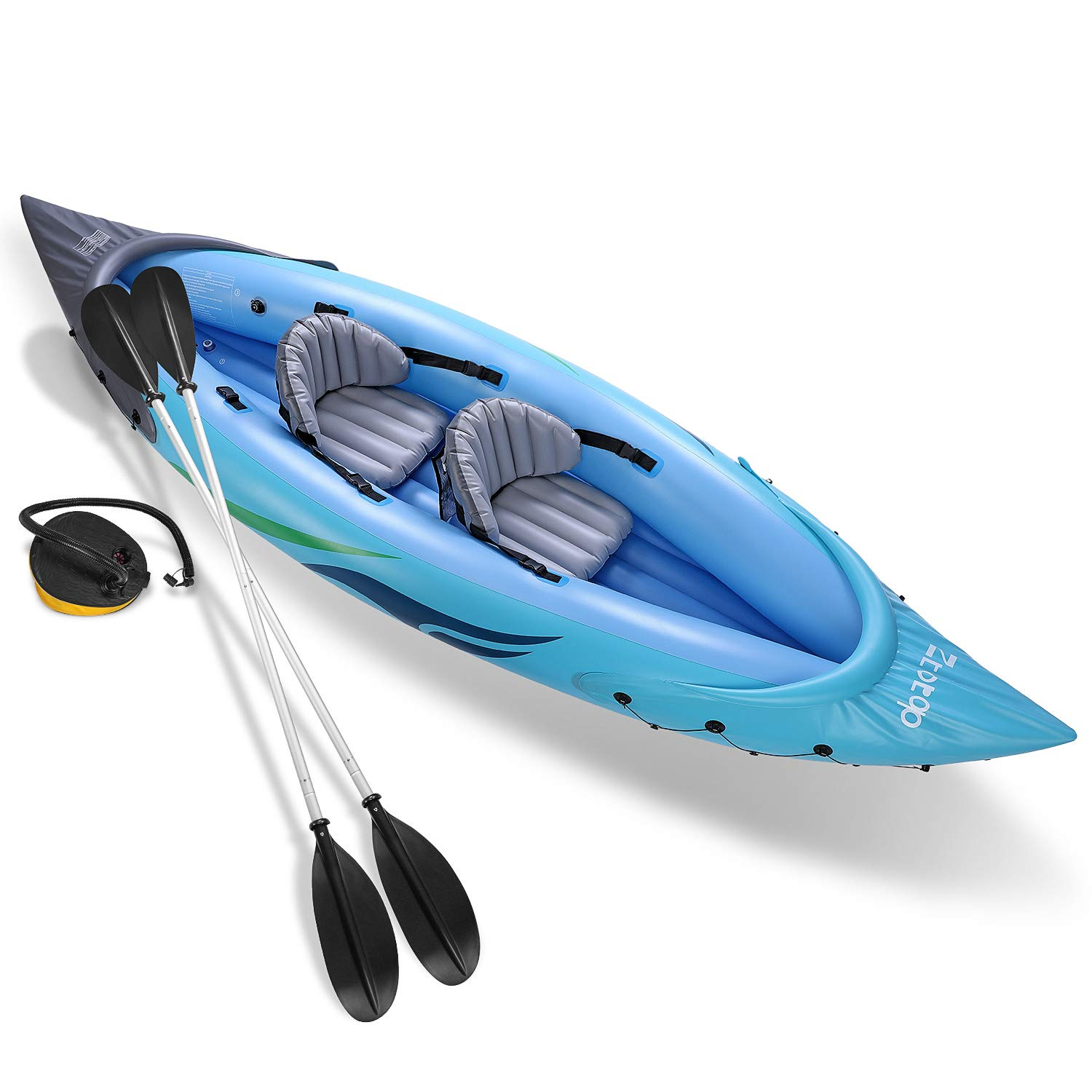 Ztotop 2-Person Inflatable Kayak Set with Inflatable Boat,Two Aluminum Oars and High Output Air Foot Pump by Ztot0p