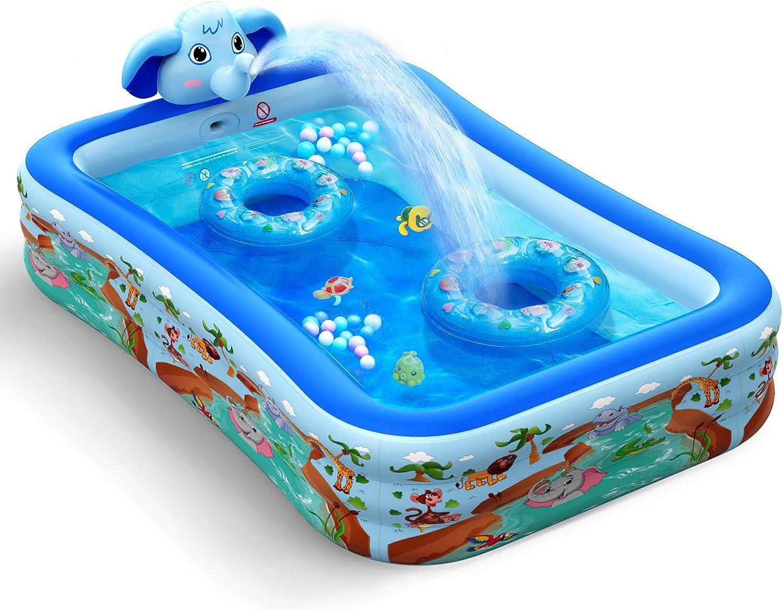 Hamdol Inflatable Swimming Pool with Sprinkler, Kiddie Pool 99