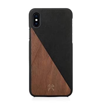 Woodcessories – Carcasa, Funda compatible con iPhone Xs Max, de madera real, EcoCase Split (Nogal / Negro)