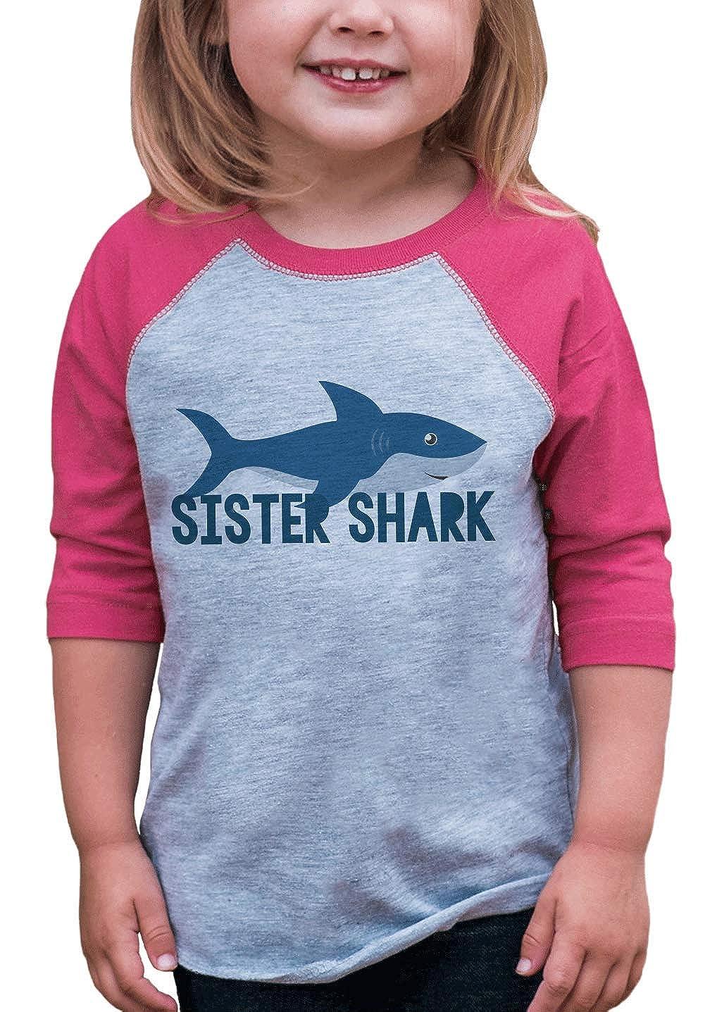 7 ate 9 Apparel Girls Sister Shark Pink Baseball Tee