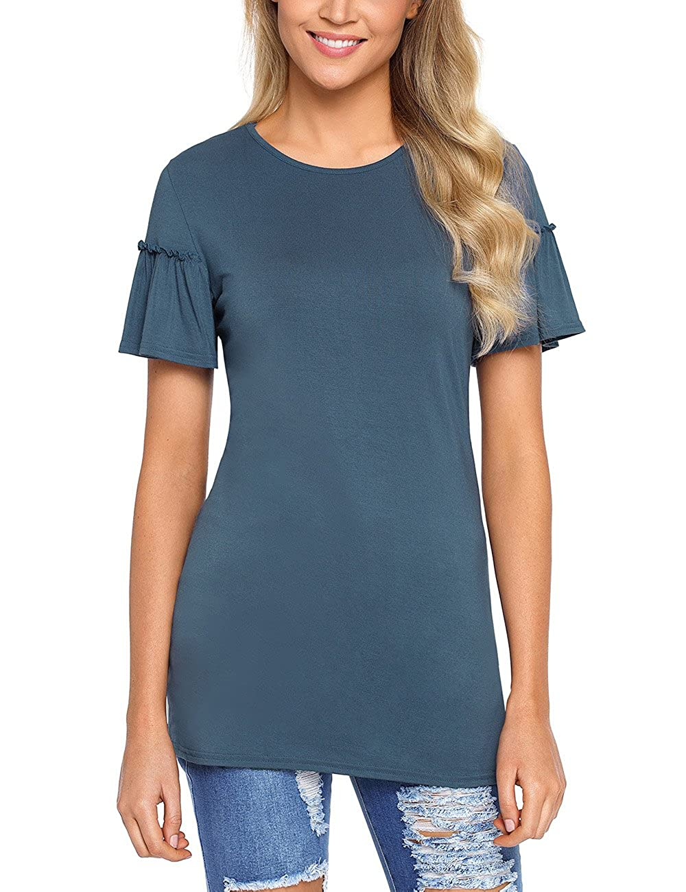 133149cf4 Features: short sleeves, solid plain style, crew round neckline, flowy  ruffle sleeve and the perfect length for comfort and style.