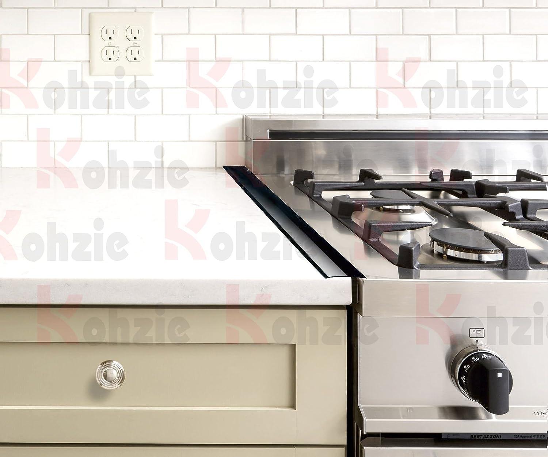 Amazon.com: Kohzie Stove Counter Gap Cover - Silicone BLACK GLOSSY ...